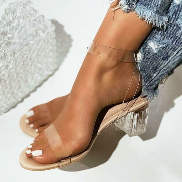 New Transparent Lucite Low Block Heel